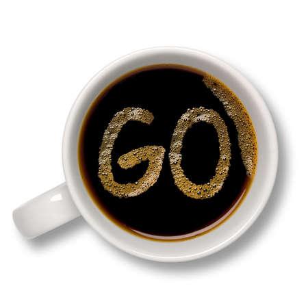 caf� � emporter: Vue d'en haut d'un isol� tasse de caf� avec un caf� bulle