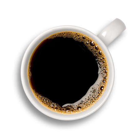 coffe break: Top view of an isolated cup of coffee with some bubbles. Stock Photo