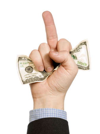 middle finger: A mans hand hold a hundred dollar bill and show his middle finger at the same time.