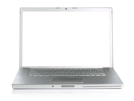 Wide screen silver laptop computer over a white background. Stock Photo