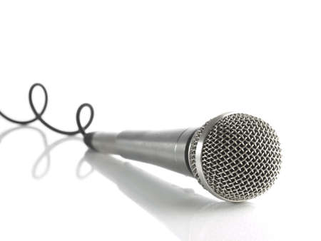 A dynamic mic with a curled cable over white. Stock Photo - 3773302