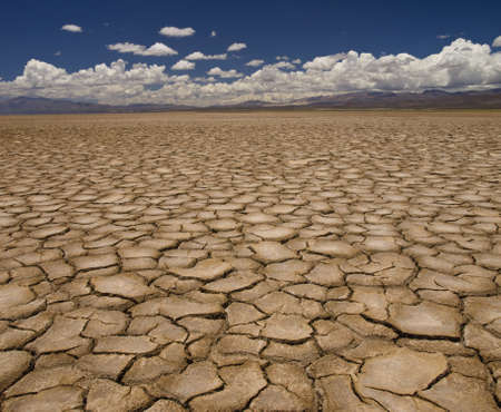 parched: Large field of baked earth after a long drought.