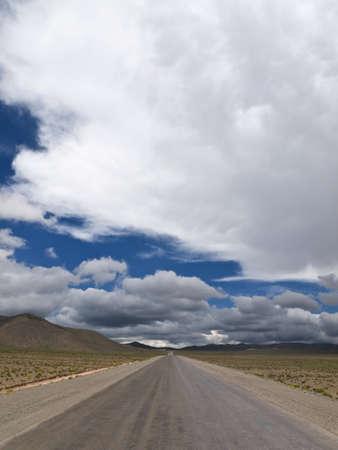 straight path: A straight road to the infinite horizon. No lane line.