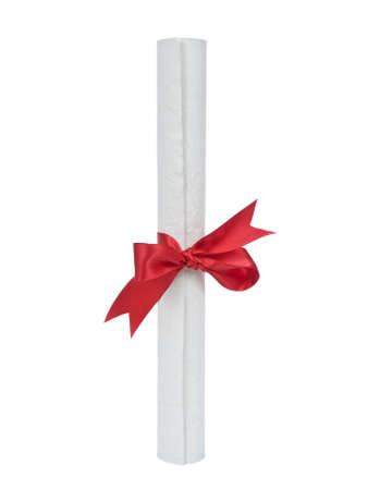 A diploma with red ribbon isolated on white background. Stock Photo - 4378128