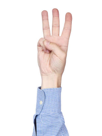 A mans hand doing number 3 gesture, isolated on white background. photo