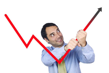 A young business man bending the chart with his own hands. Isolated on white. Stock Photo - 4651312