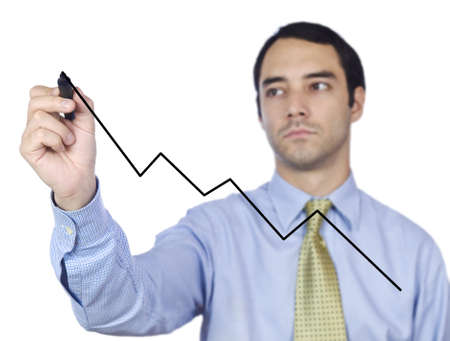 Young business man drawing a chart line on the screen. photo