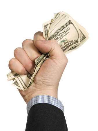 A few one hundred dollar bills on a mans fist. Isolated on white. Stock Photo