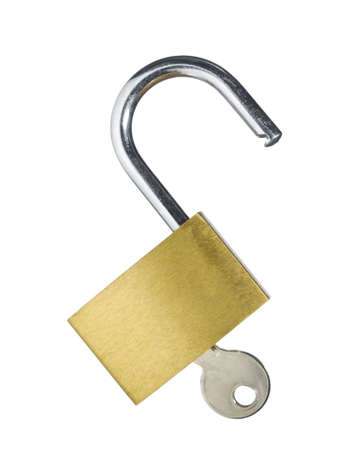 An open lock with a key isolated on white background. Stock Photo - 4700660
