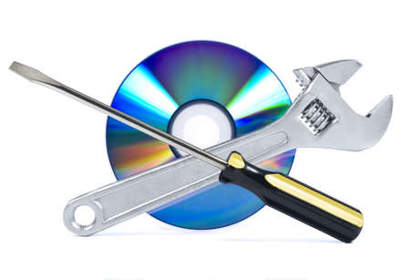 Technical support, fixing problems icon. A spanner, a screwdriver and a digital disc.