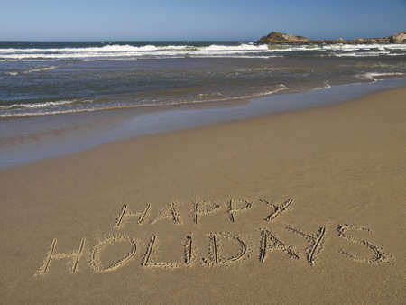 wrote: Happy holidays written on the sand beside the ocean.