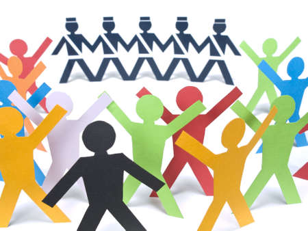 Several color paper figures manifesting before the paper police over a white background. Stock Photo - 5040282