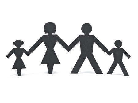 A paper chain family holding hands over a white background. photo