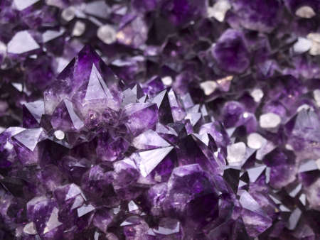 Close up on an amethyst geode. Shallow depth of field.