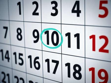 Ein Datum eingekreist in einem Kalender mit Cyan Tinte.  Standard-Bild - 5997009