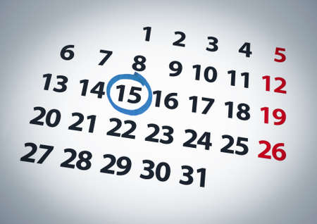 calendar day: A date circled on a 15th day of a calendar with blue ink.