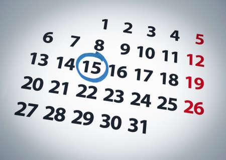 circled: Una fecha en un c�rculo en un d�a 15 de un calendario con tinta azul.