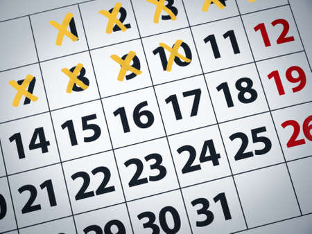 days of week: Close up of a calendar with some days crossed off. Stock Photo