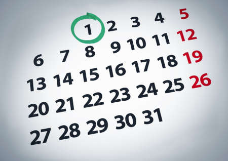green dates: A date circled on a 1st day of a calendar with green ink.