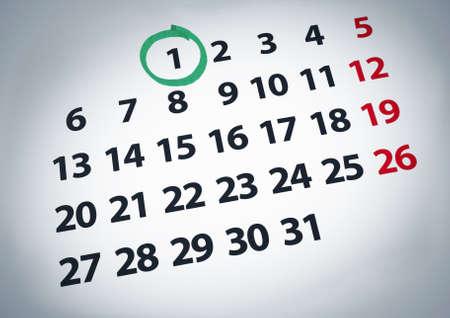 circled: Una fecha con un c�rculo en un primer d�a de un calendario con tinta verde. Foto de archivo