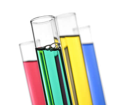 Four test tubes filled with colored liquids. Isolated on white.