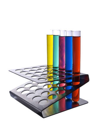 Several test tubes filled with color liquids. Isolated on white.