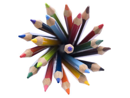 Top view of assorted color pencils disposed in a circle.