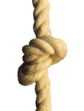 bonding rope: Close up of a knot on a rope. Isolated on white.