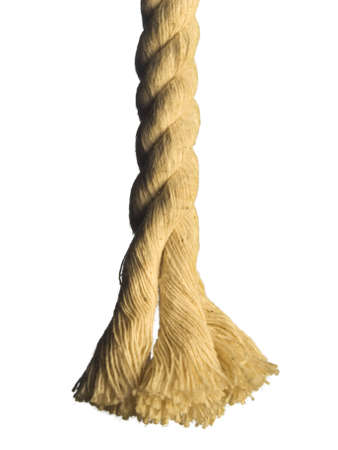 Close up of the end of a rope. Isolated on white.
