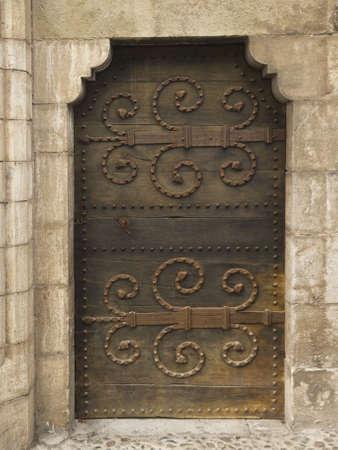 antique nails: A medieval door in Rocamadour, Midi-Pyr�n�es, France.