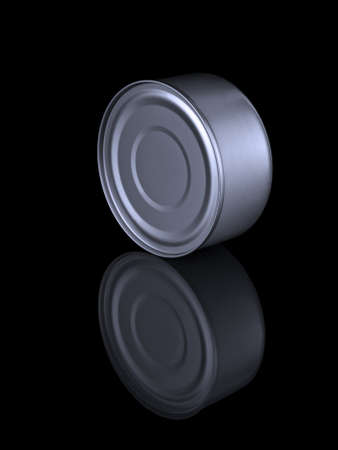 A tuna fish can and its reflection isolated on black. Stock Photo - 10269690