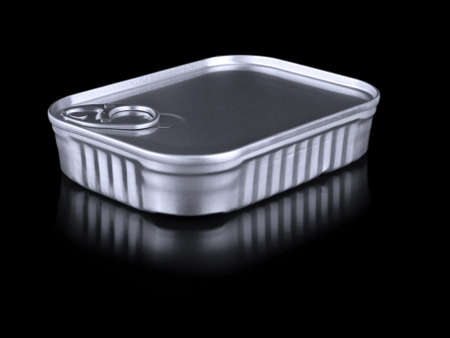 A single tin can container isolated on black. Stock Photo - 10269692