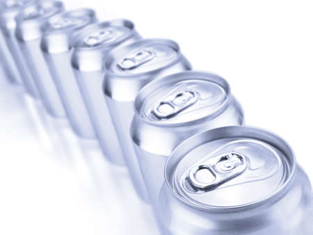 Close up view of a row of tin cans. Shallow depth of field. Stock Photo - 10269707