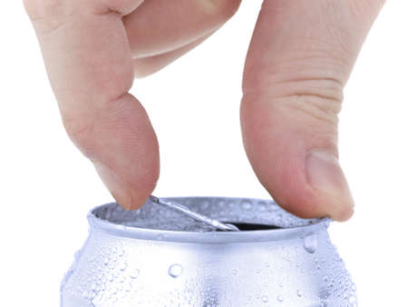 beer can: Close up of a hand opening a beverage. Isolated on white.