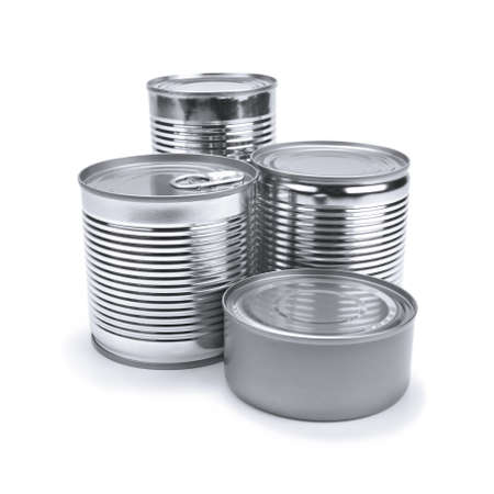 Four different tin cans isolated on white. Stock Photo - 10269716