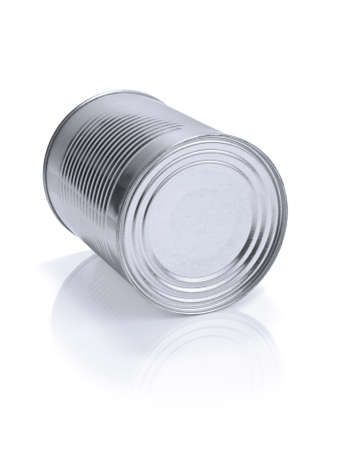 A single tin can isolated on white. photo
