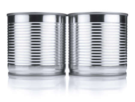 Two identical tin cans isolated on white. Stock Photo - 10269718