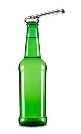 opener: A beer opener on top of a beer bottle. Stock Photo