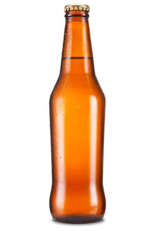 single beer bottle: A bottle of beer isolated over a white background. Stock Photo
