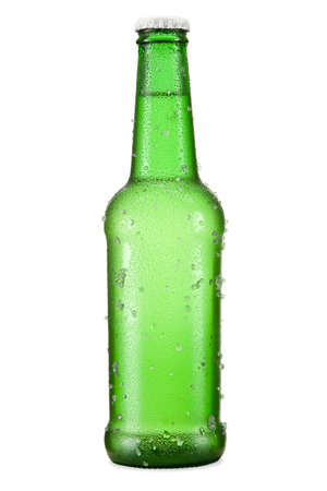 A bottle of beer isolated over a white background. photo
