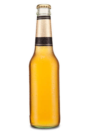long neck: A bottle of beer isolated over a white background. Stock Photo