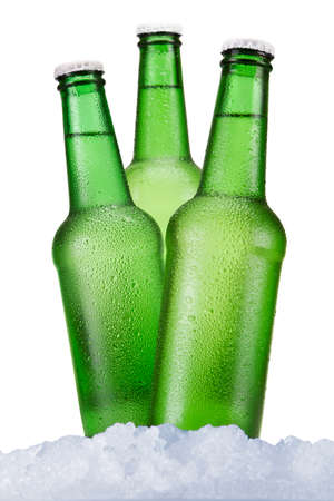 Three green beer bottles sitting on ice over a white background. photo