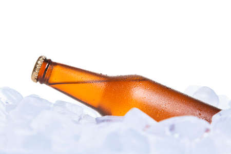 chilled: A bottle of beer burried on ice.