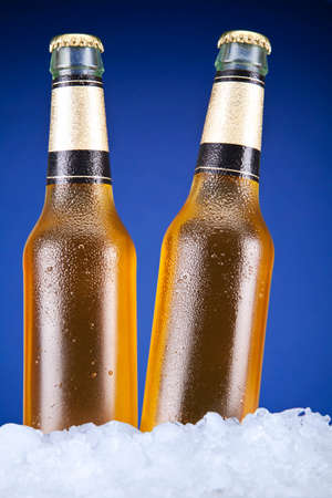 Two beer bottles sitting on ice over a blue background. photo