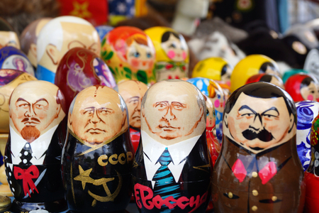 Russian dolls with images of Lenin, Stalin, Gorbachev and Putin
