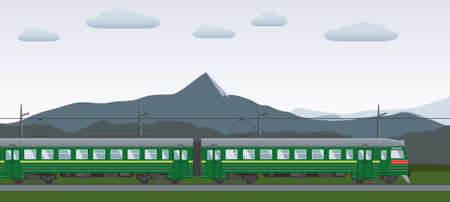 Electric train with background. Flat style.