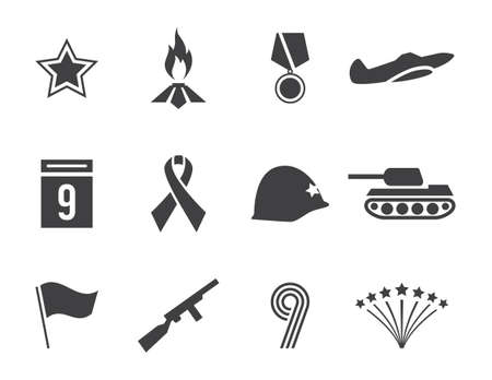 Vector Victory day icons set 矢量图像