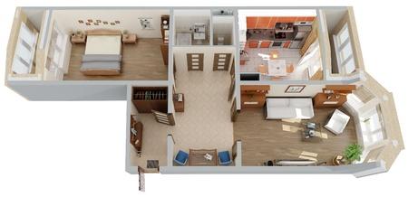 appartement bovenaanzicht Stockfoto
