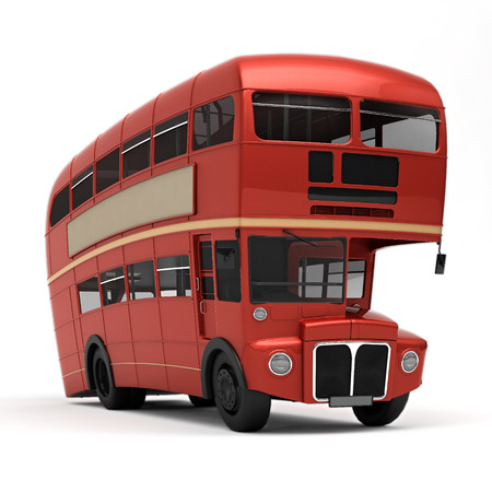 bus anglais: Double Decker bus rouge Route ma�tre Banque d'images