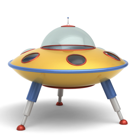 abduction: UFO flying saucer toy Stock Photo